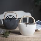 特賣蚊香盒日式復古陶瓷蚊香罐創意提籃盤香架可提掛式驅蚊香盤托插花器