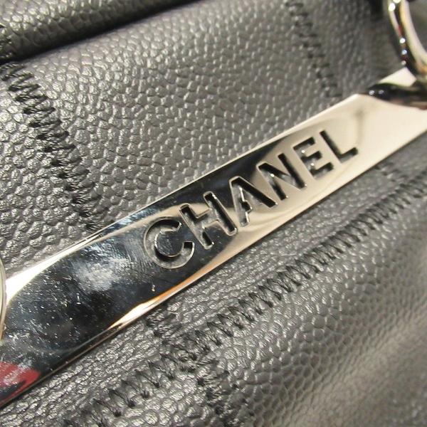CHANEL 香奈兒 黑色牛皮手提肩背包 Square Stitch Bowler Bag【BRAND OFF】