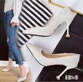 女2019春季新款高跟鞋個性蕾絲尖頭淺口細跟女單鞋 aj5770『易購3c館』
