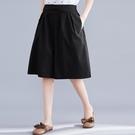 夏季新品文藝棉麻素色闊腿褲裙褲女寬鬆遮肉顯瘦鬆緊腰五分休閒褲 交換禮物