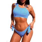 泳裝 比基尼 泳衣 條紋 單肩 背心 綁帶 低腰 兩件套 泳裝 S-XL【LC410652】 icoca  07/12