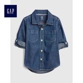 Gap男嬰幼童 休閒長袖牛仔襯衫 496463-藏青色
