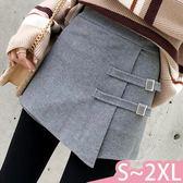 褲裙-S-2XL氣質百搭純色高腰雙繫帶不規則時尚毛呢褲裙Kiwi Shop奇異果0920【SZZ9805】
