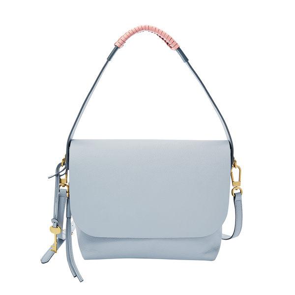 FOSSIL MAYA 粉藍色典雅真皮斜背包  ZB7620436