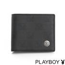 PLAYBOY- 壓釦上翻短夾 紳士棋盤兔系列-經典黑