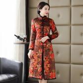 真絲面旗袍外套 秋季新款女長袖端莊大氣夾棉媽媽冬款棉衣洋裝