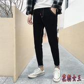 夏季黑色牛仔褲男小腳修身潮流韓版百搭青少年休閒彈力長褲子 BT3529【花貓女王】