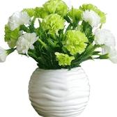 小清新康乃馨仿真花套裝假花盆栽裝飾花擺件節日禮物送父母送老師