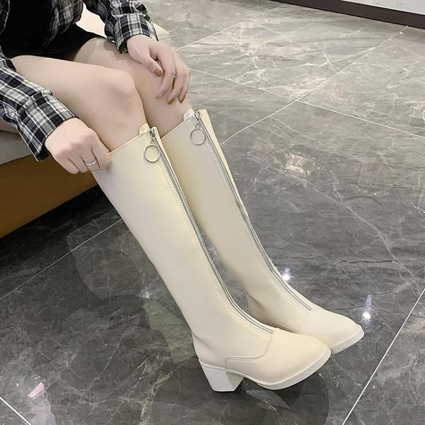 長靴 長靴女2021秋冬季新款網紅百搭學生英倫風粗跟胖mm高筒騎士長筒靴 霓裳細軟