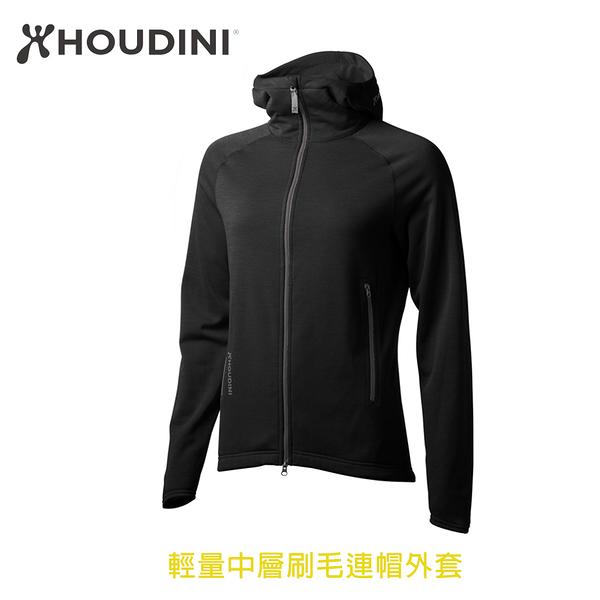 [瑞典  HOUDINI ] W's Outright Houdi 輕量中層刷毛連帽外套 女款 (純黑石南)