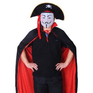 萬聖節服裝 兒童黑紅披風+白色V字面具+系紅帶海盜帽