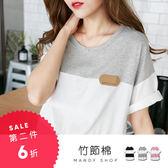 *蔓蒂小舖孕婦裝【M11580】*台灣製.配色條紋皮革標籤寬版上衣