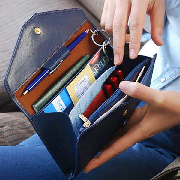 Qmishop 韓版氣質超薄軟皮長款錢包 多功能手機包 護照包 卡片包 零錢包 小方包【QJ478】Z