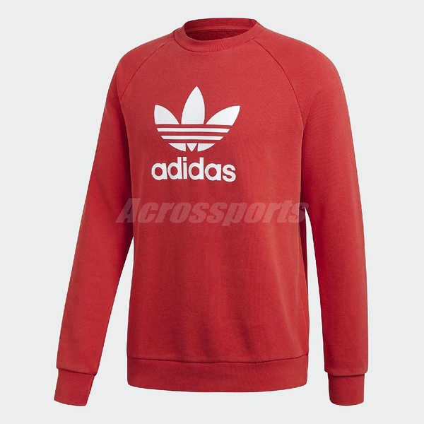 adidas 大學T Trefoil Warm-Up Sweatshirt 紅 白 三葉草 Logo 男款 長袖上衣 【PUMP306】 DH5826