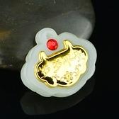 金鑲玉項鍊 和闐玉吊墜-歲歲平安生日情人節禮物男女飾品73gf34[時尚巴黎]