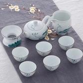 白瓷手繪功夫茶具套裝家用陶瓷蓋碗