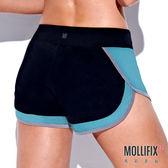 Mollifix 瑪莉菲絲 拼接修身運動短褲 (黑+藍綠)