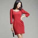 [6667-S]釘珠顯瘦長袖包臀洋裝*連衣裙~美之札