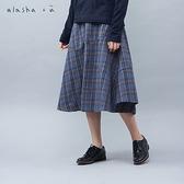 a la sha+a 氣質飄飄剪接格紋長裙