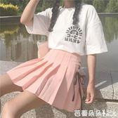 韓版小清新少女綁帶高腰百褶裙學生半身裙百搭短裙A字裙【芭蕾朵朵】