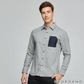 【GIORDANO】男裝拉鍊單口袋磨毛長袖襯衫-02 中花灰