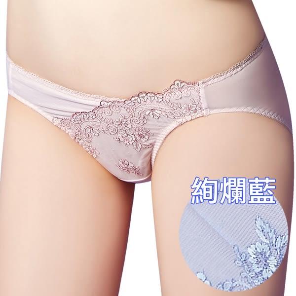 思薇爾-芭紗花園系列M-XXL蕾絲刺繡低腰三角內褲(紫繡球)