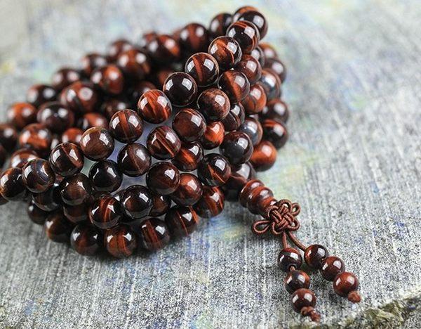 [協貿國際]天然紅虎石108顆佛珠手鍊單條價