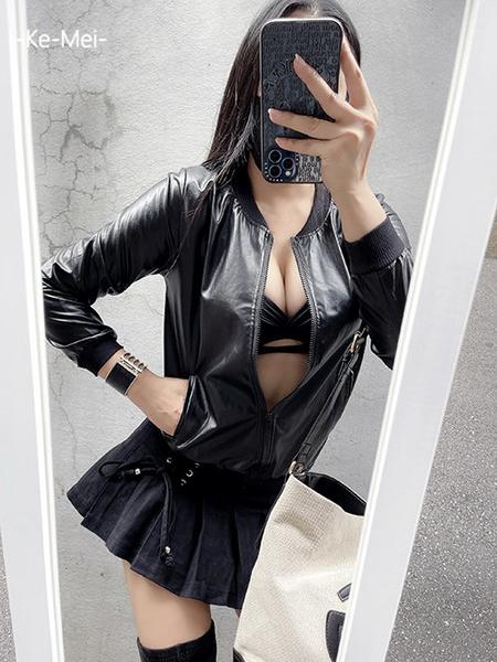 克妹Ke-Mei【AT70143】歐美時尚立領拉鍊PU騎士風簿款皮衣外套
