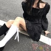 輕洛麗塔蕾絲黑裙連身裙長袖洋裝【聚可愛】