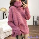 寬鬆純色高領套頭毛衣女 秋冬休閒長袖針織上衣加厚『毛菇小象』