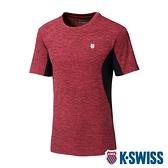 K-SWISS Neon Logo Tee涼感排汗T恤-女-紅