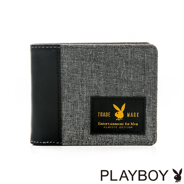 PLAYBOY- 短夾 率真系列-質感灰