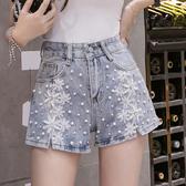 重工花朵刺繡釘珠水鑽牛仔短褲女夏休閒高腰熱褲7808#H300-B紅粉佳人