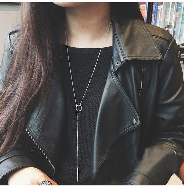毛衣鍊長款百搭秋冬韓國裝飾項鍊女配飾簡約女士黑色掛飾歐美吊墜