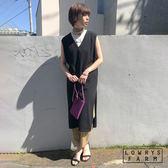LOWRYS FARM素色2WAY前後兩穿下襬開衩棉質無袖連身裙洋裝-二色
