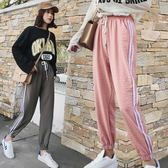 hiphop褲子女夏學生正韓潮百搭原宿bf風寬鬆束腳運動褲三角衣櫥