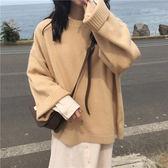 顯瘦闊袖毛衣百搭純色圓領長袖針織衫女上衣