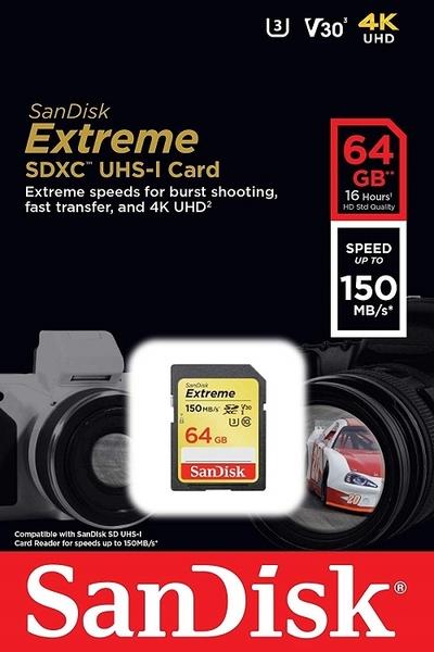 SanDisk 64GB 64G SDXC 【150MB】Extreme SD SDHC V30 4K U3 C10 SDSDXV6-064G 相機記憶卡