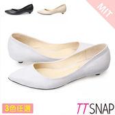 尖頭鞋-TTSNAP MIT細緻小蜥蜴紋真皮低跟鞋 黑/米/灰