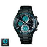 WIRED SEIKO副牌 東京潮流鏡面切割湖水綠三眼黑鋼錶 40mm VR33-0AA0G AY8010X1 | 名人鐘錶
