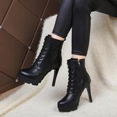 馬丁靴英倫風高跟鞋新款細跟短靴女靴子百搭秋冬季女鞋子  小時光生活館