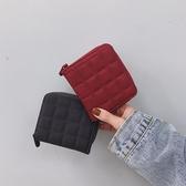 韓版簡約格子迷你小錢包女 拉鏈錢夾可愛零錢包學生短款卡包 毅然空間