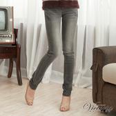 Victoria 豹紋繡燙鑽丹寧牛仔窄直筒褲-女-灰-VW2108