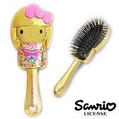 【日本進口正版】Hello Kitty 凱蒂貓 金粉款 和風 輕巧 按摩梳 梳子 三麗鷗 Sanrio - 258705
