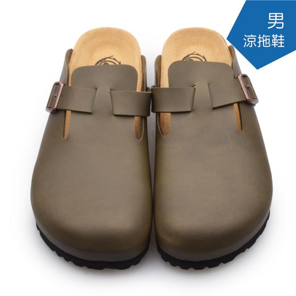 【A.MOUR 經典手工鞋】男涼拖鞋系列-墨綠 / 涼拖鞋 / 平底鞋 / 防潑水PVC /DH-5012