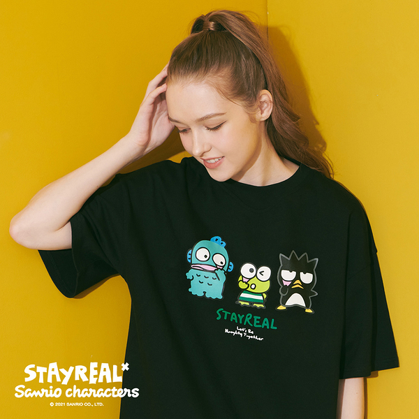 STAYREAL x Sanrio characters 一起扮鬼臉吧寬版T