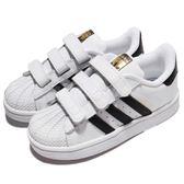 adidas 休閒鞋 Superstar CF I 黑 白 金標 魔鬼氈 基本款 小童鞋 童鞋【PUMP306】 BZ0418