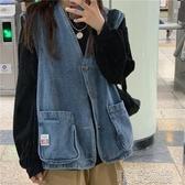 韓版2019春秋裝新款寬松外搭無袖上衣女外穿薄款牛仔背心馬甲外套 喵喵物語
