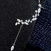 耳環 925純銀鑲鑽-清新樹葉生日情人節禮物女耳飾73du47【時尚巴黎】