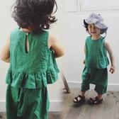 童裝 棉麻荷葉上衣+闊腿褲寬褲 套裝 女童 寬褲 橘魔法 Baby magic 現貨 兒童